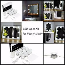 Black Mirror With Lights Led Vanity Mirror Lights Kit For Makeup Dressing Table With