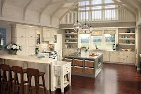 Nice White Farmhouse Kitchen With Large Square Kitchen Island Storage Added  White Small Butcher Block Island On Brown Wood Floors As Vintage Kitchen  Ideas