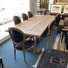 restoration hardware salvaged trestle extension table with eight