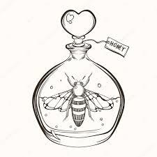 ручной обращается гравировка эскиз пчела в бутылке с медом Ve