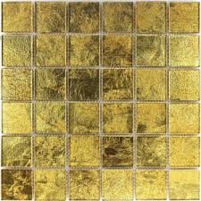 mosaic tiles glass effect gold 48x48x4mm