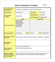 Method Of Statement Sample Sample Method Statement Template 100 Documents in PDF 1
