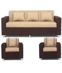 BLS Tulip Brown & Cream 3 1 1 Seater Sofa Set Buy BLS Tulip
