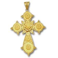 18k solid gold ornate filigree budded cross pendant a xlarge culturetaste