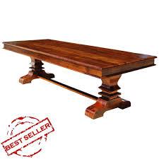 tiraspol solid wood trestle pedestal large rectangle dining