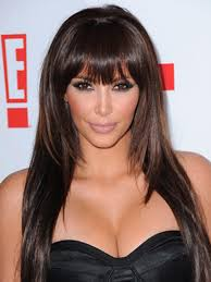 Hairstyles With Blunt Fringe Of Hairstyles With Bangs Kim Kardashian Blunt Bangs Hairstyle