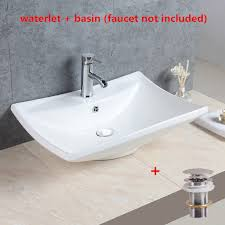 details about large rectangular bathroom ceramic countertop basin sink include pop up drain us