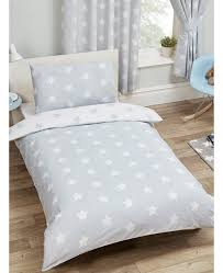 grey and white stars 4 in 1 junior bedding bundle set duvet pillow and covers