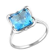 <b>Белое кольцо с крупным</b> голубым топазом SOKOLOV – купить в ...