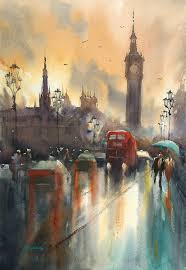 london sunset ii by keiko tanabe watercolor 19 x 13 inches 48x33 cm