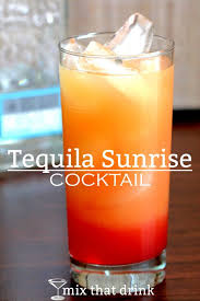 the tequila sunrise is a clic orange juice based l it gets its name from