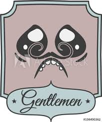 A Colorful Bathroom Sign With Newspaper Style A Gentleman Face Cool Bathroom Sign Vector Style