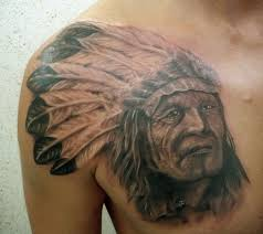 фото тату индеец с перьями на голове татуировки и эскизы воины