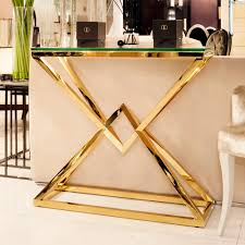 gold console table. Contemporary Gold Glass Console Table