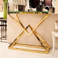 gold console table. Contemporary Gold Glass Console Table E
