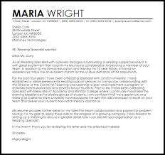 Sample Cover Letter For Reading Specialist Position Professional