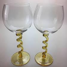 union street wine glasses yellow curled twisted stem large glasses stemware 2