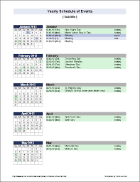 sample meeting schedule free yearly schedule of events template