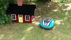 home made robot lawn mower garage