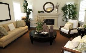 wallpaper ideas for living room brown rug and white fireplace also brown sofa in white living