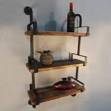 wood ikayaa 3 tier rustic iron pipe wall shelf