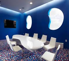 blue white office space. blue office space white