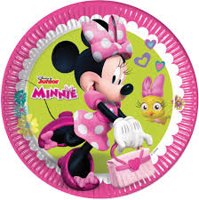 Disney Party Signs Minnie Mouse 23 Cm Pink Green 8 Pieces