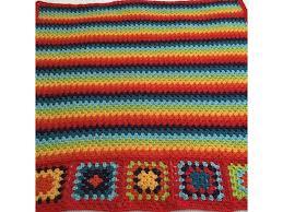 rug rainbow granny hand crochet granny stripe pure wool blanket throw