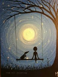 hand painted landscape wall art canvas picture handmade modern abstract gril and pet swing with moon