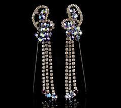 stunning large vintage 1950s purple aurora borealis chandelier earrings pierced sold