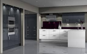 Shiny White Kitchen Cabinets Furniture Beautiful Modern Grey Kitchens Decors With White