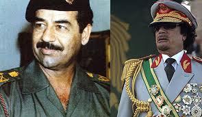 Resultado de imagem para Saddam Hussein, Muammar Gaddafi