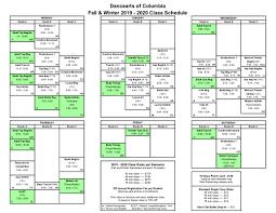 Class Schedule Dancearts Of Columbia