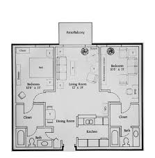 2Bed 1Bath Single Apartment  Bear Creek ApartmentsApartments Floor Plans 2 Bedrooms