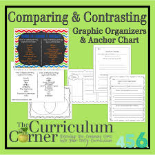 comparing contrasting writing anchor chart graphic organizers comparing contrasting anchor chart and graphic organizers from the curriculum corner