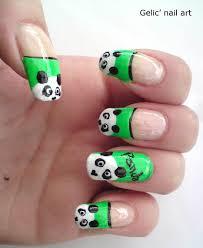 Gelic' nail art: Cute panda nail art on green funky french