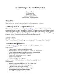Resume Of Fashion Designer Zromtk Amazing Fashion Resume Examples