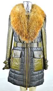leather coat with fabric and fur