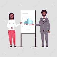 Businesspeople Coworkers Presenting Financial Graph On Flip Chart