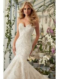 mori lee 2801 beautiful lace fish tail wedding gown ivory