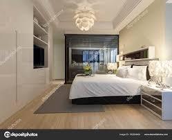 Rendering Modernen Luxussuite Mit Schlafzimmer Und Bad Stockfoto