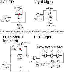ac leds jose pino s projects and tidbits the first circuit shows a single led using 110vac i used this circuit to detect if voltaje is present at the ac outlet a reversed diode is needed because