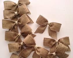 Burlap Small Bows / set of 12 / Natural Decorative Bows / Burlap Decor /  Burlap