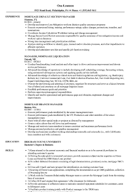 Manager Mortgage Resume Samples Velvet Jobs