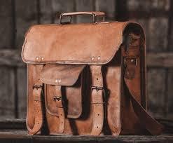 vintage leather messenger laptop bag shoulder satchel