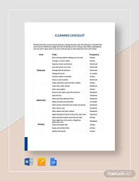 Sample Cleaning Checklist 16 Documents In Word Pdf