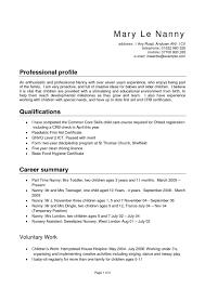 Nanny Sample Resume Tomyumtumweb Com