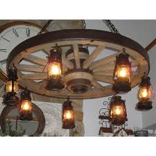 large wagon wheel chandelier with 7 lanterns