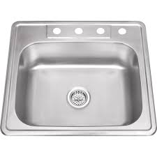 Drop In 25 In Stainless Steel Single Basin Kitchen Sink In Brushed