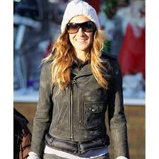 sarah jessica parker distressed leather motorcycle jacket